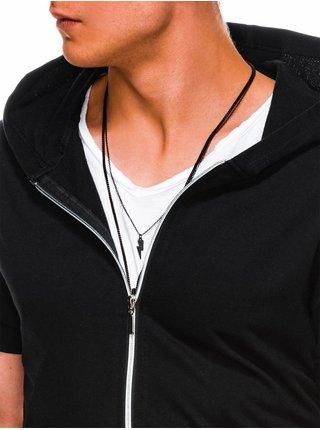 Pánska mikina na zips s krátkym rukávom B960 - čierna