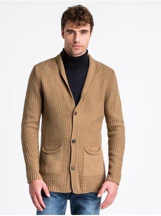 Pánský svetr na knoflíky E164 - hnědý