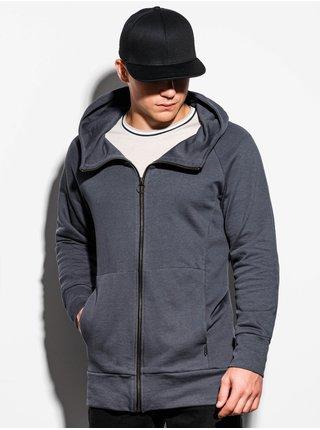 Pánská mikina na zip s kapucí B1017 - šedá