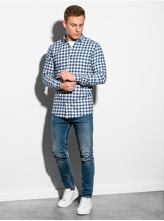 Pánská kostkovaná košile s dlouhým rukávem K509 - bílá
