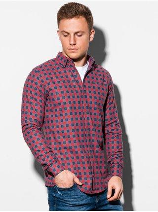 Pánska károvaná košeľa s dlhým rukávom K509 - červená