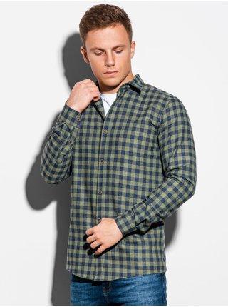 Pánska károvaná košeľa s dlhým rukávom K509 - khaki