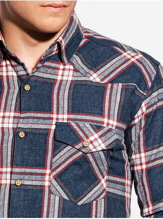 Pánska károvaná košeľa s dlhým rukávom K510 - námornícka