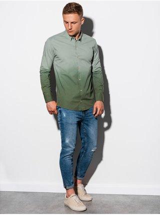 Pánská košile s dlouhým rukávem K514 - khaki