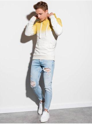 Pánská mikina s kapucí B1048 - žlutá