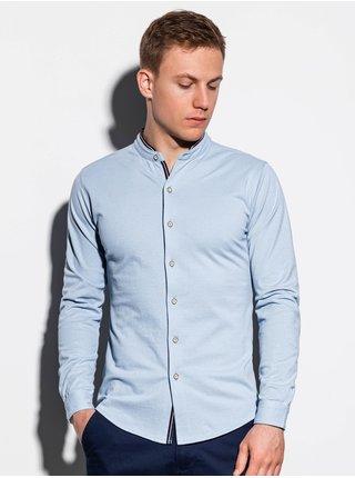 Pánská košile s dlouhým rukávem K542 - nebesky modrá