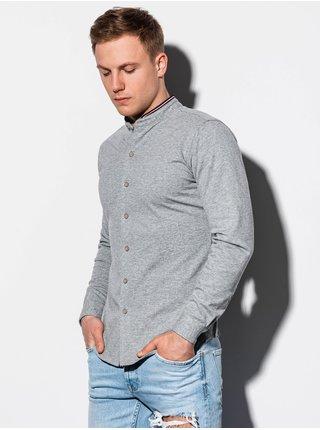 Pánská košile s dlouhým rukávem K542 - šedá