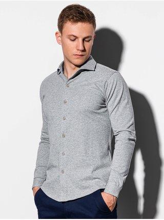 Pánská košile s dlouhým rukávem K540 - šedá