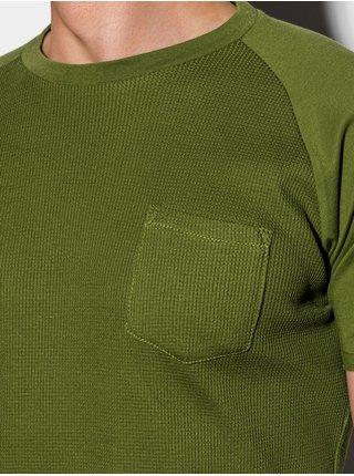 Pánské tričko bez potisku S1182 - olivová