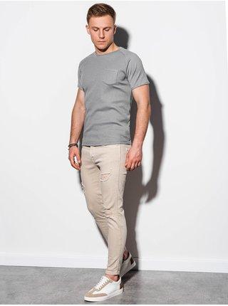 Pánské tričko bez potisku S1182 - šedá