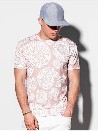 Pánské tričko s potiskem S1221 - béžová