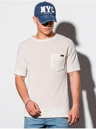 Pánské tričko s krátkým rukávem B1069 - béžová