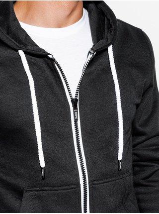 Pánska mikina na zips s kapucňou B977 - čierna V