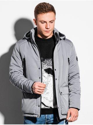Pánská zimní bunda C449 - šedá