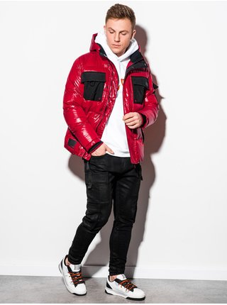Pánská zimní bunda C457 - červená
