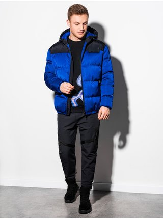 Pánská zimní prošívaná bunda C458 - nebesky modrá