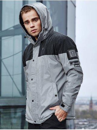 Pánská zimní prošívaná bunda C462 - šedá