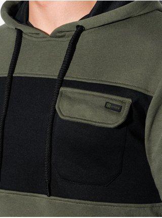 Pánská mikina s kapucí B1072 - khaki