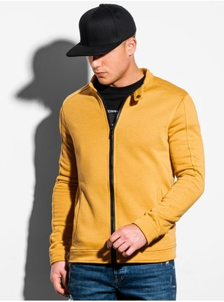 Pánská mikina na zip bez kapuce B1071 - žlutá