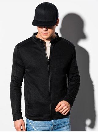 Pánská mikina na zip bez kapuce B1071 - černá
