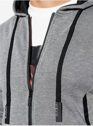 Pánská mikina na zip s kapucí B1076 - žíhaná šedá