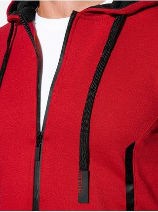 Pánská mikina na zip s kapucí B1076 - červená