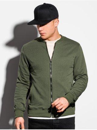 Pánská mikina na zip bez kapuce B1077 - khaki
