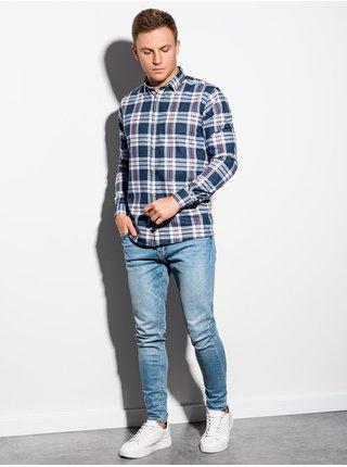 Pánská kostkovaná košile s dlouhým rukávem K562 - bílá/námořnická