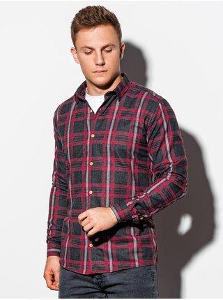 Pánska károvaná košeľa s dlhým rukávom K562 - červená