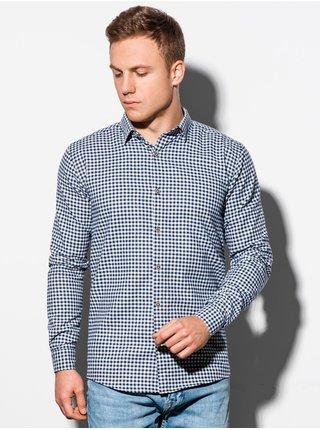 Pánská kostkovaná košile s dlouhým rukávem K563 - bílá/námořnická