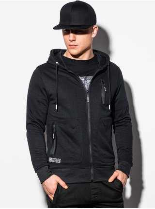 Pánská mikina na zip s kapucí B1086 - černá