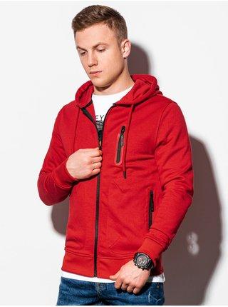 Pánská mikina na zip s kapucí B1086 - červená