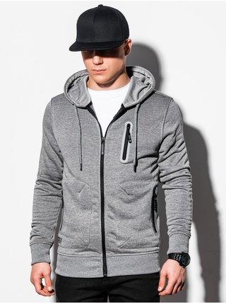 Pánská mikina na zip s kapucí B1086 - žíhaná šedá