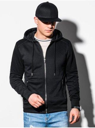 Pánská mikina na zip s kapucí B1074 - černá
