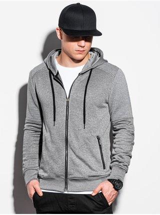 Pánská mikina na zip s kapucí B1074 - šedá