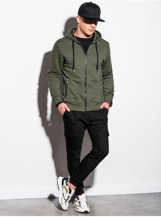 Pánská mikina na zip s kapucí B1074 - khaki