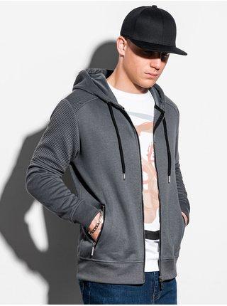 Pánská mikina na zip s kapucí B1074 - žíhaná šedá