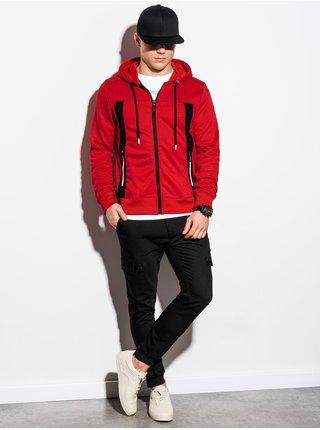 Pánská mikina na zip s kapucí B1073 - červená