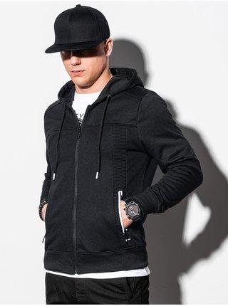 Pánska mikina na zips s kapucňou B1073 - čierna