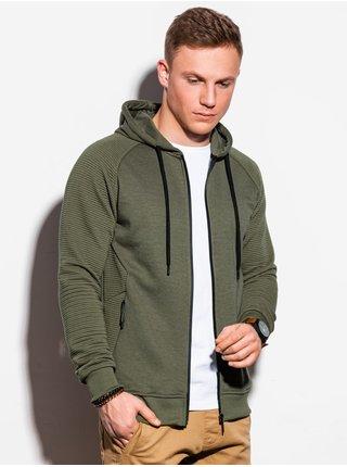 Pánská mikina na zip s kapucí B1083 - khaki