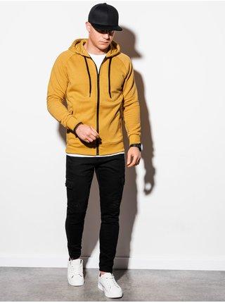 Pánská mikina na zip s kapucí B1083 - žlutá