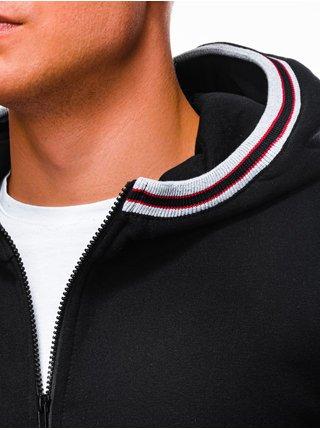 Pánská mikina na zip s kapucí B1210 - černá