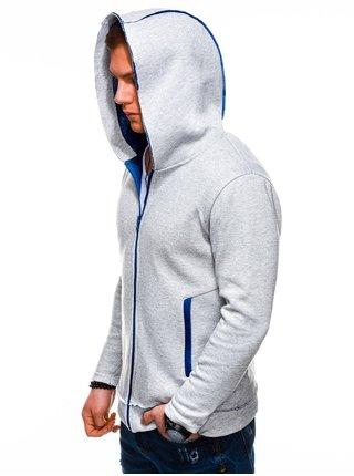 Pánska mikina na zips s kapucňou B1209 - sivá