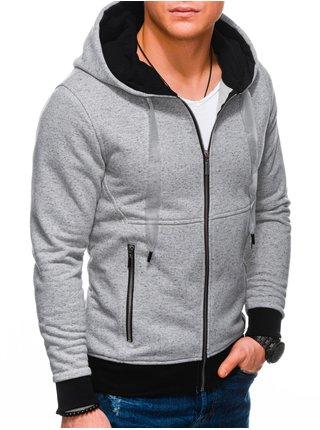 Pánská mikina na zip s kapucí B1218 - šedá