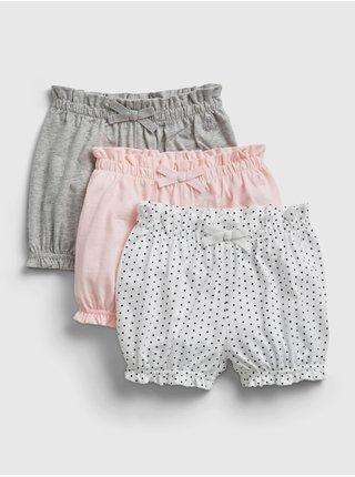 Barevné holčičí baby kraťasy organic mix and match pull-on shorts, 3ks