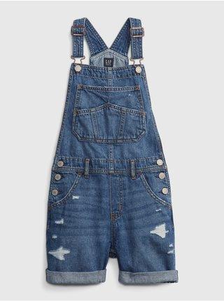 Modré holčičí dětské džínové kraťasy s laclem shortall med medmwash xxl