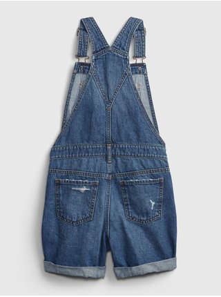 Detské džínsové kraťasy distressed denim shortalls Modrá