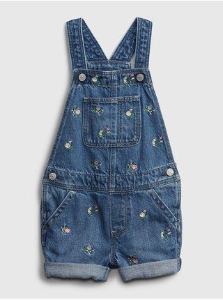Modré holčičí dětské džínové kraťasy s laclem overal shortall - emb