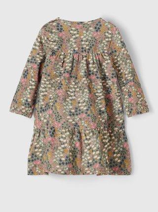 Kaki dievčenské kvetované šaty name it Beata