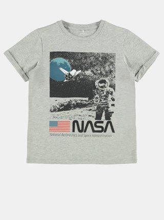 Šedé chlapčenské tričko s potlačou name it Nasa